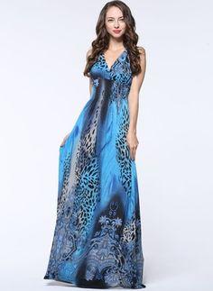 Polyester Květinový Bez rukávů Maxi Elegantní Šaty