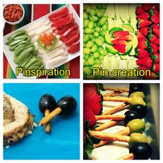 veg & fruit tray ideas; LOVE the pretzels w/ olives