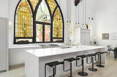 elegant stained glass kitchen window
