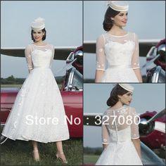 Hot Sale White Ivory Lace Mid Calf Tea Length Half Sleeve Wedding Dress Formal Bridal Gown Custom Color Size AQ139 $179.00