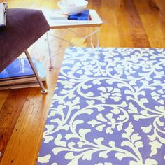 Paint a floor canvas.  Tutorial by E. Spencer Toy, James Carrier, Jil Peters for Sunset Magazine.