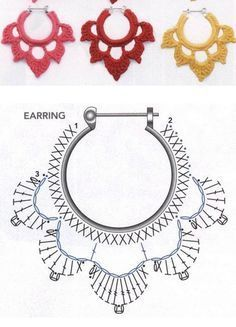 alice brans posted Crochet diagram to make earrings, Spanish site to their -crochet ideas and tips- postboard via the Juxtapost bookmarklet. diagram for crochet earings! more diagrams on site :) … Divinos aros tejidos al crochet. Risultati immagini per Crochet Diagram, Crochet Chart, Thread Crochet, Crochet Motif, Crochet Flowers, Crochet Stitches, Crochet Round, Doilies Crochet, Crochet Gratis