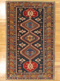 "Karagashli rug,Eastern Caucasus,circa 1890.Measurements of the piece;7'.2""x4'.6"" (218x137 cm).   Hagop Manoyan, New York"