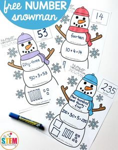 Free Number Representation Snowmen! A fun way to work on number sense, number recognition and place value. Perfect for number of the day practice, morning work or math centers and easy to differentiate for all learners in your class! #TheStemLaboratory #mathfreebies #wintermathcenters #teachingmath