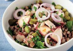 χταποδι σαλατα με μαυροματικα συνταγη Black Eyed Pea Salad, Food Categories, Yams, Greek Recipes, Pasta Salad, Potato Salad, Seafood, Cooking Recipes, Tasty