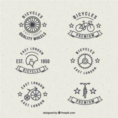 Insignias de bici en estilo lineal Vector Gratis                                                                                                                                                                                 Más