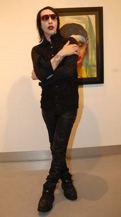 Marilyn Manson at a gallery showing of his artwork