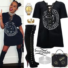 Leigh-Anne Pinnock: Ramones T-Shirt, Lace-Up Boots Fall Outfits, Casual Outfits, Cute Outfits, Fashion Outfits, Fashion Tips, Swag Outfits, Celebrity Outfits, Celebrity Style, Steal Her Style
