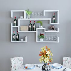 White Floating Wine Rack, Not bad to owe such fashion wine shelf in your house. Unique Wall Shelves, Wall Shelf Decor, Wall Shelves Design, Diy Wall, Bookshelf Design, Bedroom Cupboard Designs, Bedroom Cupboards, Living Room Designs, Diy Room Decor