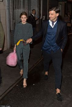 Sleeping in style: Olivia Palermo went for a green silk pyjama set for the event