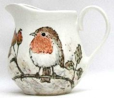 Milk Jug - Robin & Rosehips  ... Jenny Bell Ceramic's .. beautiful British countryside inspired ....lots of birds, animals and flowers  <3