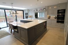 Kitchen Ergonomics has 15 years experience designing and installing bespoke kitchens in Hertfordshire Luxury Kitchen Design, Kitchen Room Design, Kitchen Layout, Kitchen Interior, Kitchen Island With Booth Seating, Kitchen Island Dining Table, Large L Shaped Kitchens, L Shaped Island, Open Kitchen And Living Room