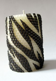 Handmade Zebra Stripes Beeswax Candle : Perfect gift for mom!    Using beeswax sheets rolled into a full sized pillar, this honeycomb patterned masterpiece is freehandly detailed with beeswax zebra stripes. Decorate the mantel and let our inner animal come out and play!  RSVP: http://handmadeology.com/mothersday .. Handmadeology Mother's Day Live Auction: May 5, 8pm EST Starting bid  $3