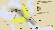File:Metal production in Ancient Middle East.svg  Mining areas of the ancient West Asia. Boxes colors: arsenic is in brown, copper in red, tin in grey, iron in reddish brown, gold in yellow, silver in white and lead in black. Yellow area stands for arsenic bronze, while grey area stands for tin bronze.