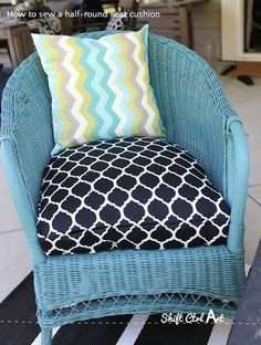 How to: sew a half-round seat cushion cover - for my outdoor wicker chairs
