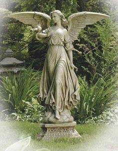 Angels Garden, Angel Garden Statues, Outdoor Garden Statues, Cemetery Angels, Cemetery Statues, Cemetery Art, Modern Sculpture, Garden Sculpture, Cement Statues