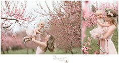 Mommy and me portrait session; peach blossoms; pink gown and tutu; flower crown; spring photo session; mommy and me | Photos by Massart Photography of RI