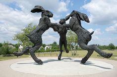 Dancing Hares, A Bronze Sculpture of 3 Giant Rabbits in Dublin, Ohio