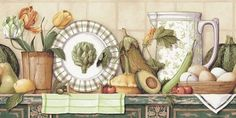 Country Still Life Wallpaper - Wallpaper Border - BC1580724 from Design by Color/Neutral book