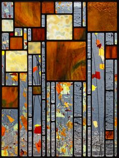 Josephine works from her Minnesota studio creating geometric and slightly abstract 'landscape mosaics' crafted in traditional leaded stained glass.