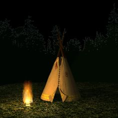 in front of teepee