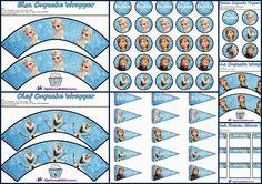 Frozen: Toppers y Wrappers para Cupcakes y Etiquetas Gratis.