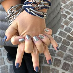Mavala Nail Polish 238 Sao Paulo & Denim Blue & Frosted Silver Strappz as Bracelet with Knot Snappz Brappz Mavala Nail Polish, Bra Straps, Hair Ties, Athleisure, Blue Denim, Knot, Chokers, Nails, Bracelets