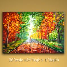 Enchanting Original Impressionist Palette Knife Oil Painting On Canvas Panels Stretched Ready To Hang Park. In Stock $196 from OilPaintingShops.com @Bo Yi Gallery/ ops7039