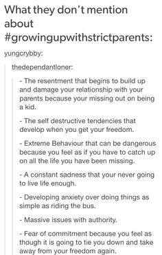 """Also extreme behaviour because you start thinking like """"I mustn't ever do that again, or they'll hate me"""" or things like panic attacs over the littlest trash Strict Parents, Dear Parents, Writing Prompts, Writing Tips, I Can Relate, Deep Thoughts, True Stories, Just In Case, Mental Health"""