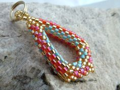 Zipper Pull in Tangerine Aqua and Gold Seed Beads by SierraBeader, $18.00