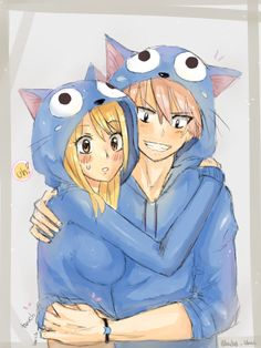 Lucy and natsu dressed as happy how cute. (Any one else notice naughty Natsu????)