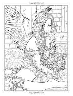 Gothic - Dark Fantasy Coloring Book (Fantasy Art Coloring by Selina) (Volume Selina Fenech Angel Coloring Pages, Coloring Pages For Grown Ups, Adult Coloring Book Pages, Printable Adult Coloring Pages, Coloring Pages To Print, Free Coloring Pages, Coloring Books, Fantasy Kunst, Fantasy Art