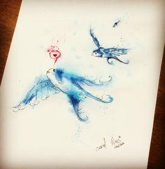 Birds Watercolor By @dn_alves    Daniel R Alves São Paulo/BR