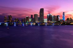 Miami   Downtown skyline at twilight.