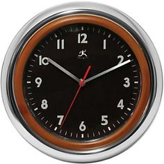 Faux Wood & Silver 12 Resin Wall Clock