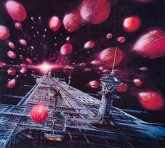 Concept Art - U.S.S. Cygnus entering Meteor Storm Concept Art by Peter Ellenshaw 01 (ByYourCommand.net Gallery)
