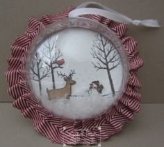 Christmas ornament made with the Stampin Up White Christmas stamp set
