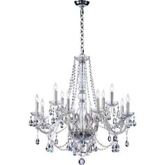 Bohemian Luxury Crystal Chandelier Home Decor - 2 Tier Luxurious Chandelier - 12 Light - Chrome Finish - Bohemian Marien Crystal Collection - Free Shipping
