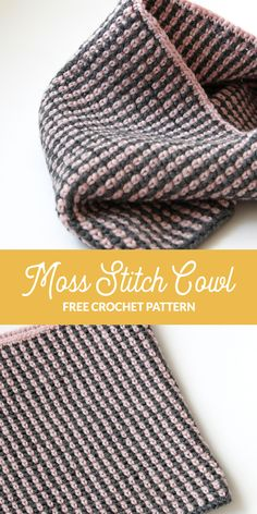 This cute, two-color cowl is crocheted with just two balls of wool yarn. Get the free Moss Stitch Cowl pattern from Hands Occupied. I like this stitch/ pattern for a baby blanket! Crochet Cowl Free Pattern, Crochet Amigurumi Free Patterns, Free Crochet, Crochet Scarves, Crochet Yarn, Crochet Stitches, Crochet Round, Irish Crochet, Moss Stitch