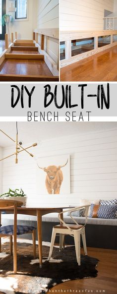 Kitchen Living Rooms Remodeling AMAZING tutorial to build your own DIY Built-In Banquette! Add a bench seat to your kitchen nook! - DIY Built-in Banquette tutorial with lots of pictures! Kitchen Table Bench, Dining Room Bench Seating, Kitchen Banquette, Booth Seating, Dining Nook, Kitchen Decor, Kitchen Seating, Farmhouse Table, Nook Table