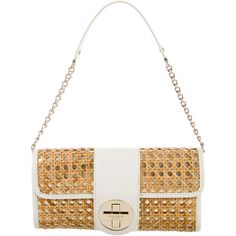 Pre-owned Kate Spade New York Metallic Wicker Bag ($95) ❤ liked on Polyvore featuring bags, handbags, shoulder bags, white, leather man bags, white leather shoulder bag, white shoulder bag, leather shoulder bag and man shoulder bag