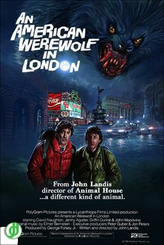AN AMERICAN WEREWOLF IN LONDON. Painting by Daryl Joyce. Poster designed by Jidé.
