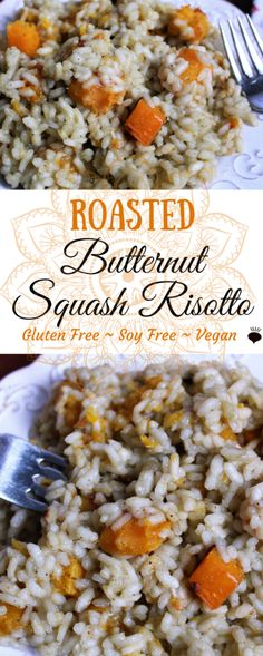 Vegan Roasted Butternut Squash Risotto is the perfect fall meal! This savory dish is naturally gluten free and vegan, yet it is so creamy, you will think that it must have dairy! This is a perfect Thanksgiving dish! Everyone will love it, not just the vegans, and it is free of all common allergies, so almost anyone can it! thehiddenveggies.com