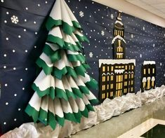 grade team does an annual Polar Express themed party, and they make an a. grade team does an annual Polar Express themed party, and they make an a. Mini-Wine Bottle Countdown to Christmas Advent Calendar Christmas Hallway, Office Christmas Decorations, Christmas Themes, Christmas Crafts, Christmas Countdown, Origami Christmas, Christmas Backdrop Diy, Christmas Classroom Door Decorations, School Hallway Decorations