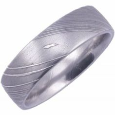 Damascus Steel Wedding Band, Flat Profile - Stainless Steel Wedding Bands | Titanim-Buzz