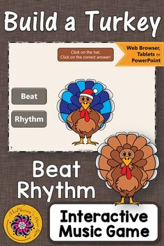 Thanksgiving Music Game Beat or Rhythm! Your elementary music students will LOVE this interactive music game! Perfect for you November music lessons! #musiced #musiced