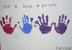 Messy Play idea for older kids.Primary and secondary colors! Paint each hand a primary colour and then rub them together! A little science, literacy, math, and it's a cool craft! Preschool Colors, Preschool Science, Preschool Activities, Primary Teaching, Teaching Art, Color Crafts, Fun Crafts, Arte Elemental, Primary And Secondary Colors