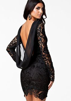 Black Patchwork Lace Sexy Dress