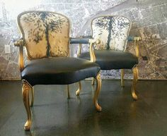 Hide chairs pair Louis French country style gilt gold arm club living room set March Madness Off Brass Tacks, Recycled Leather, French Country Style, Living Room Sets, Metal Working, Decor Styles, Painted Furniture, Accent Chairs, Dining Chairs