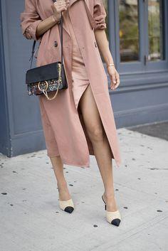 Michelle Mason cross-back slip dress // Michelle Mason trench coat // Chanel satin pumps // Chloe bag // Celine Sunnies // Christie Nicolaides earrings